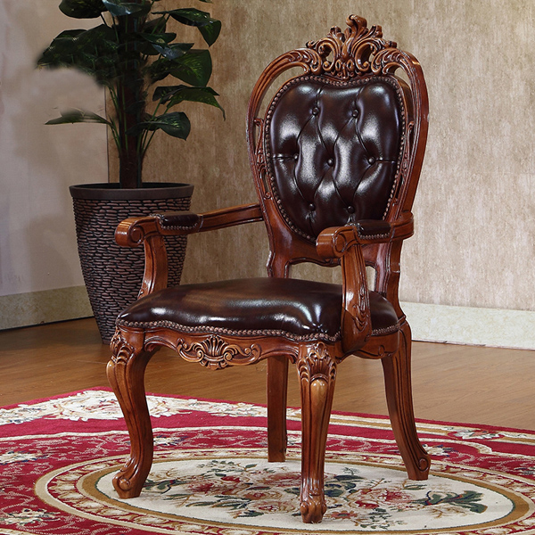 American style classical solid wooden carving and high quality genuine leather dining chair & American style classical solid wooden carving and high quality ...