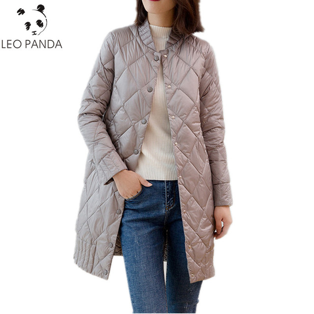 f9eb56f33 US $68.3 |Women Ultra Light Down Jackets 2018 Autumn Winter Thin White Duck  Down Jacket Parka Solid Midi Long Outerwear Female Coat HF483-in Down ...