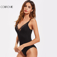 COLROVIE Vintage Lace Bodysuit Black Basic Slim Women Sexy Plunge Neck Summer Bodysuits 2017 Fashion Elegant