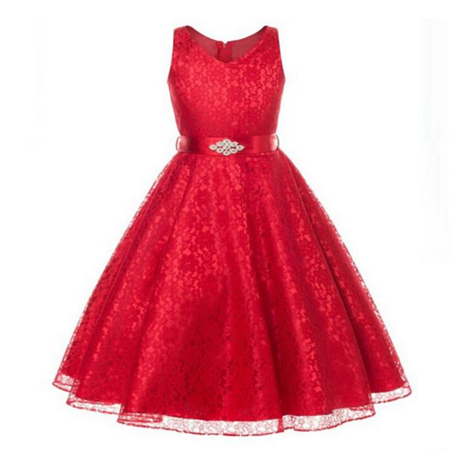ФОТО Hot Sale Children Teenagers Everning Ceremonies  Birthday Christmas  No Sleeve Party Dresses for Girls With Lace B0114