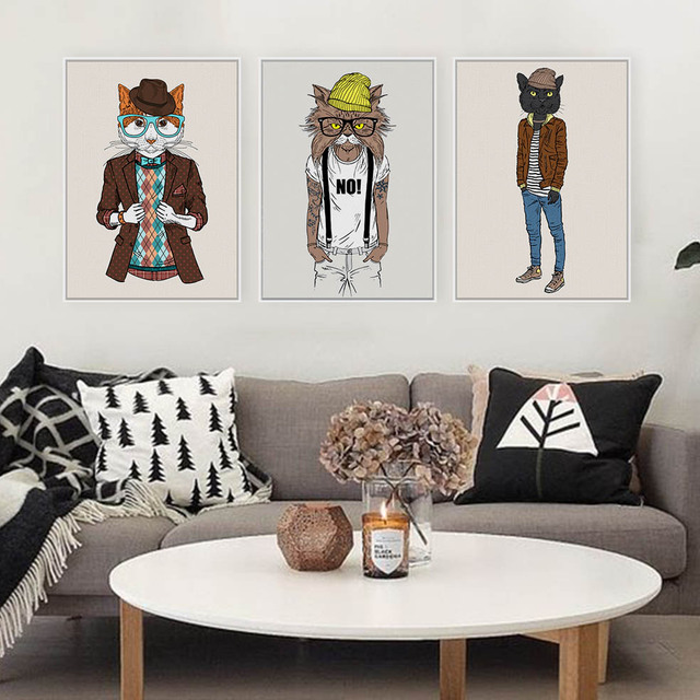 Modern Fashion Animals Cat Cartoon A4 Large Art Prints Poster Hippie Wall Picture Canvas Painting Customd