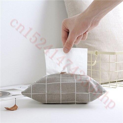 Cotton Linen Tissue Box Bag Paper Holder Cover Home Car Desktop Organizer