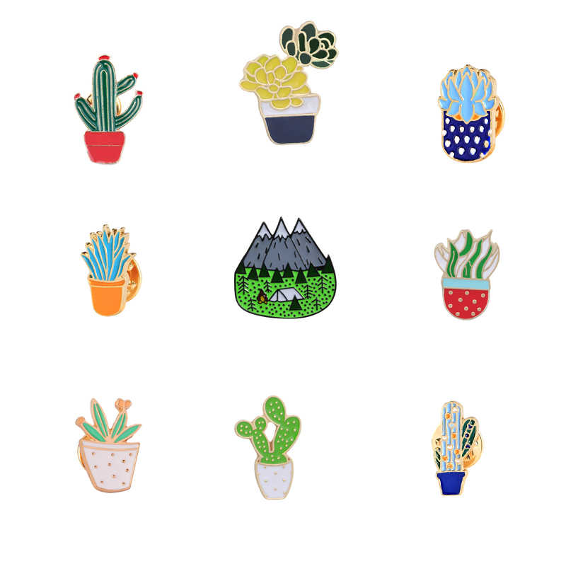 Cute Plant Pot Cactus Leaves Enamel Brooch Prickly pear Succulents Leaf For Women Denim Jewelry Pins Metal Hat Lapel Badges Gift