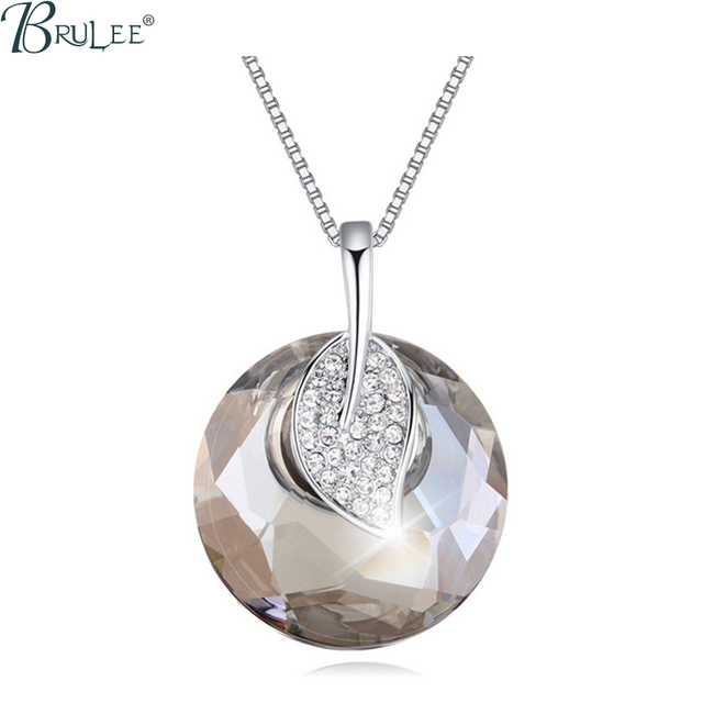 2017 New Fashion crystal Swarovski Elements Necklace Leaf shape luxury Exaggerated pendants women Crystal jewelry Wholesale