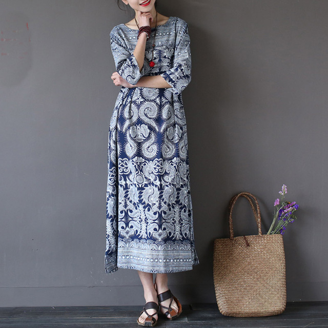 SERENELY Vestidos 2017 Summer Dress Vintage Print Plate Buttons Half Sleeve Plus Size Dress for Women Loose Linen Robe S186