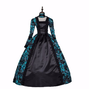 New Green and Black Rococo Ball Gown Gothic Victorian Princess Costumes Halloween Cosplay Dresses