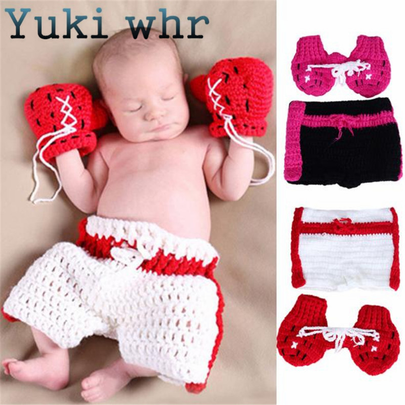 998a66aba36c6 US $7.54 24% OFF|Yuki Kids Clothes set Infant Boxing gloves shorts Outfits  Crochet Baby Boy Boxer photography props Handmade knitted-in Hats & Caps ...