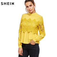 SheIn Women Blouses And Tops Yellow Embroidered Tunic Band Collar Lace Applique Babydoll Long Sleeve Vintage