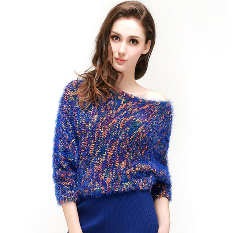 f69c34722b4 JOGTUME Womens Loose Knitted Sweater Fashion Batwing Sleeve Colorful Mohair  Ladies Strapless Long Sleeved Pullovers Coat 6Colors