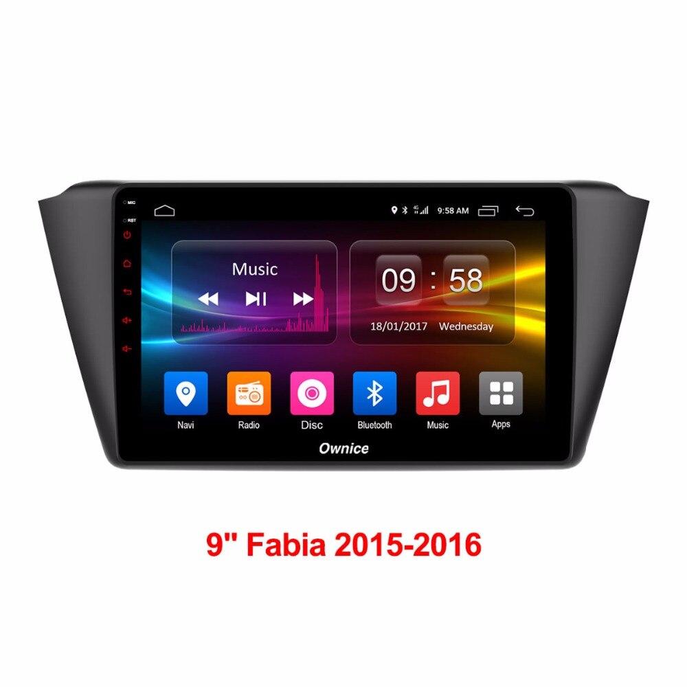 9 pouce 2 gb RAM + 32 gb ROM Android 6.0 Octa 8 Core Lecteur DVD de Voiture Pour Skoda Fabia 2015 2016 GPS Navigation Radio Stéréo TPM