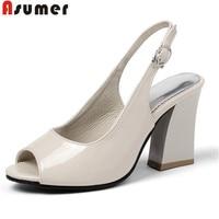 ASUMER 2019 new summer sandals women peep toe buckle high heels ladies prom dress shoes slingback elegant women sandals big size