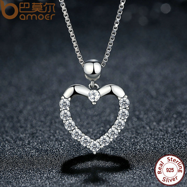 Sterling Silver Female Heart Pendant Necklace
