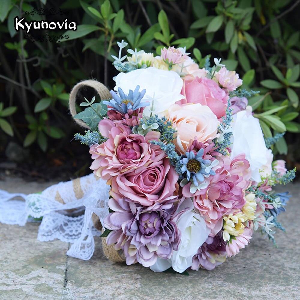 Kyunovia Vintage Blue Silk Wild Flowers Bouquet For Wedding Plain