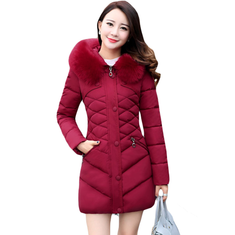 Cotton-Padded Jacket Big Fur Collar Hooded Middle Age Mother Quilted Coat Plus Size Women Warm Winter Wadded Outwear Slim XH682 winter women outwear long hooded cotton coat faux fur collar plus size parkas wadded slim jacket warm padded cotton coats pw0997