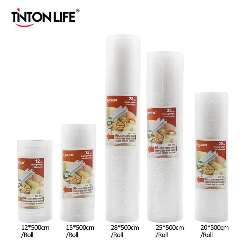 Tinton Life cocina alimentos bolsa Bolsas de almacenamiento para sellador al vacío alimentos frescos mantener largo 12 + 15 + 20 + 25 + 28 cm * 500 CM 5 rollos/lot