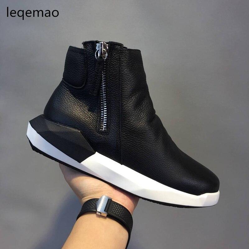 Vente Plat Plate-Forme Hiver Homme Haute-top Confortable Fourrure Chaude Chaussures En Cuir de Vache Hommes Noir Couleurs Sneakers Mode Cheville bottes