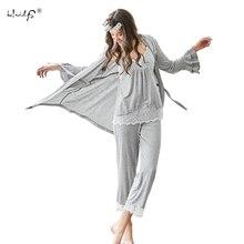 여성 잠옷 세트 3 피스 운동복 + 바지 + 가운 잠옷 세트 섹시한 레이스 v 목 homewear 수면 세트 숙녀 잠옷 잠옷