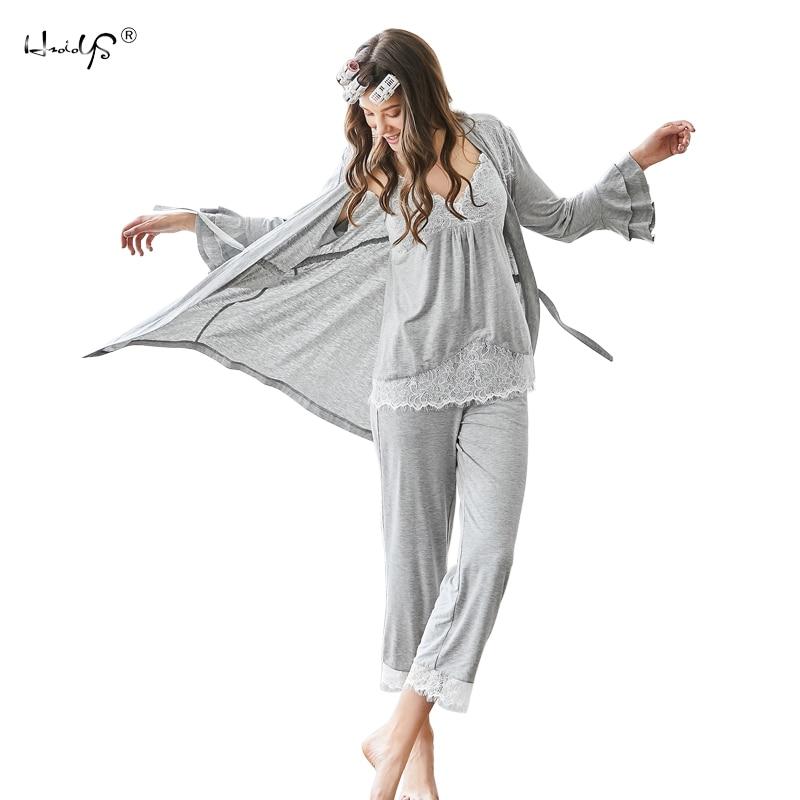 Women Pajamas Set 3 Piece Sweatshirt + Pants + Robes Pajama Sets Sexy Lace V-Neck Homewear Sleep Set Ladies Pyjamas Sleepwear