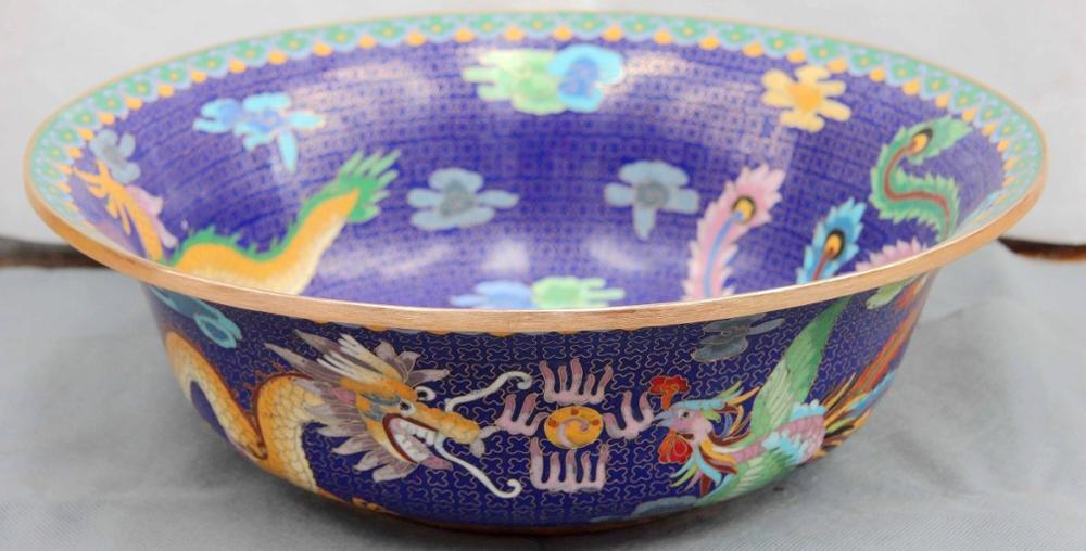 Chinese Copper Cloisonne Enamel Palace Dragon Phoenix Play Bead Plate Basin Bowl