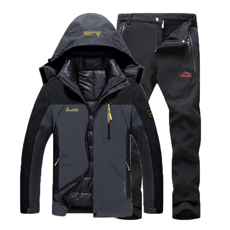 Men Autumn Winter Fishing Waterproof 3 in1 Coat Trekking Jacket SoftShell Pants Hiking Climbing Camping Skiing Trousers Suit