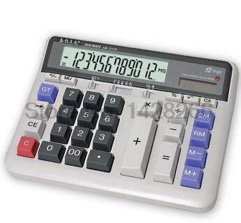 2017 Large Display Screen 12 Digits Office Business Electronic Calculator Solar Dual Power Calculadora Finance Bank Calculator