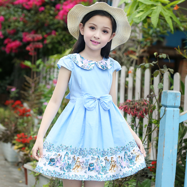 75365e1294c Children Wedding Dresses For Girls 2017 Princess Party Dresses Peter Pan  Collar Floral Print Ball Gown 2 4 6 8 9 10 11 12 Years