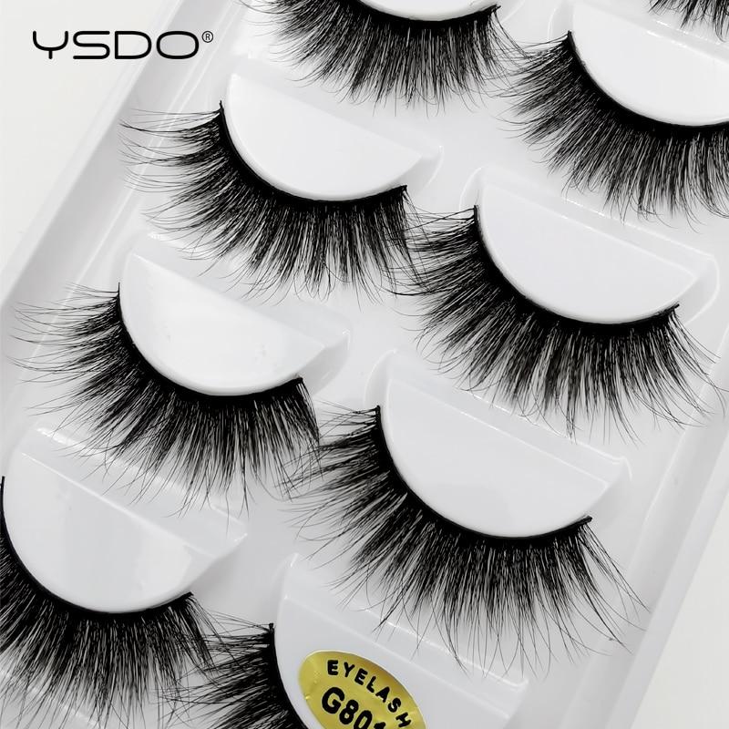 YSDO 5 pairs mink eyelashes natural long false eyelashes makeup 3d mink lashes fake lashes cilios mink 3d dramatic eyelashes G8 in False Eyelashes from Beauty Health