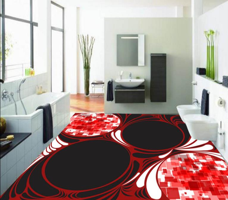 3d Floor Painting Wallpaper Custom Creative Design Patterns Tiles Waterproof Self Adhesive Wall
