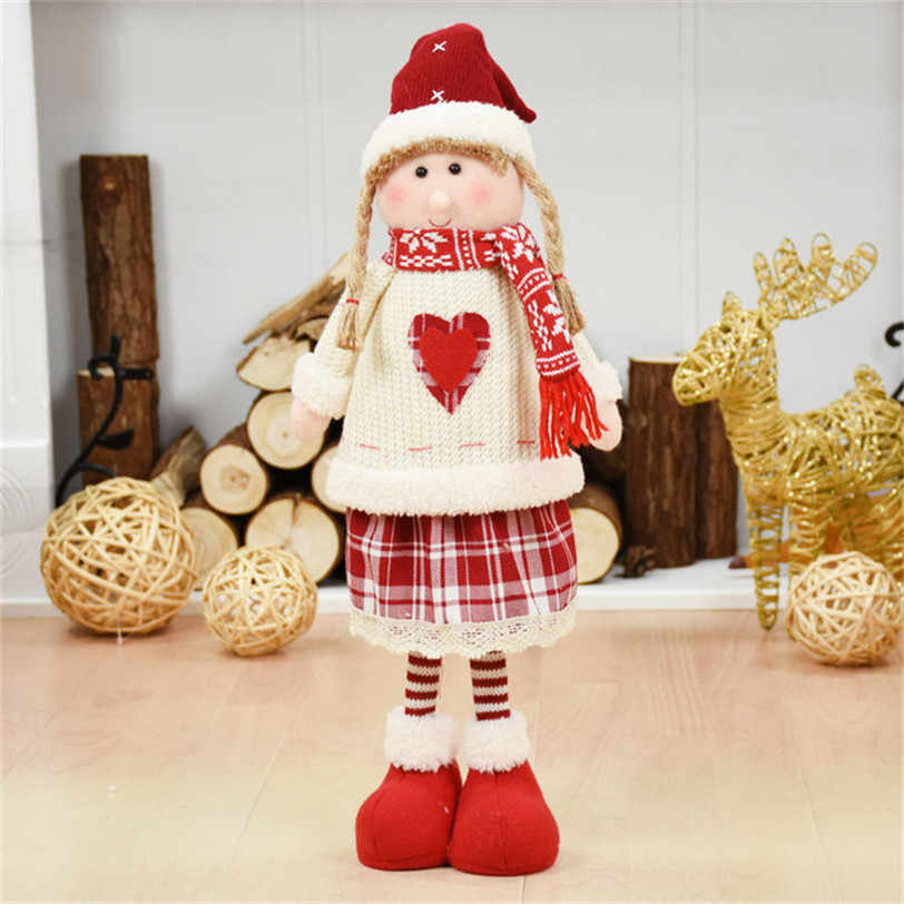 Red Clothes Girl White Angel Girl Standing Figures Christmas Decorations for Home Christmas Dolls New Year Birthday Presents