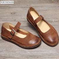 Whensinger spring Women Flat Shoes loafers Genuine Leather Casual Buckle Word Band Flats Shoe Vintage Elegant Fashion