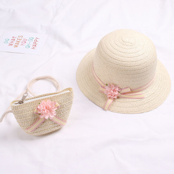 Cute Girls Straw Hat Sun Hat + Shoulder Bag Handbag 2pcs Sets for Summer Kid Princess Floral Beach Hats for Party Outdoor 5