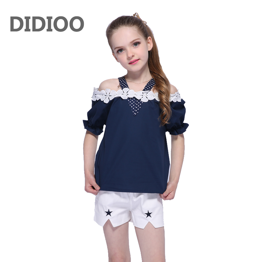 Children Clothing Sets For Girls Off Shoulder T-Shirts & Shorts 2Pcs/Set Lace Flower Vests Girl Tees Shorts Summer Kids Outfits black cold shoulder lace up t shirts