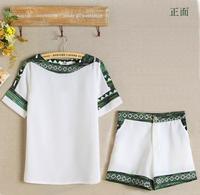 Add 3XL! Folk Women's Set 2 Pieces Green Print Chiffon Blouse + Shorts Vintage 2 Pieces Set Pocket Chiffon Shirt Casual S5709