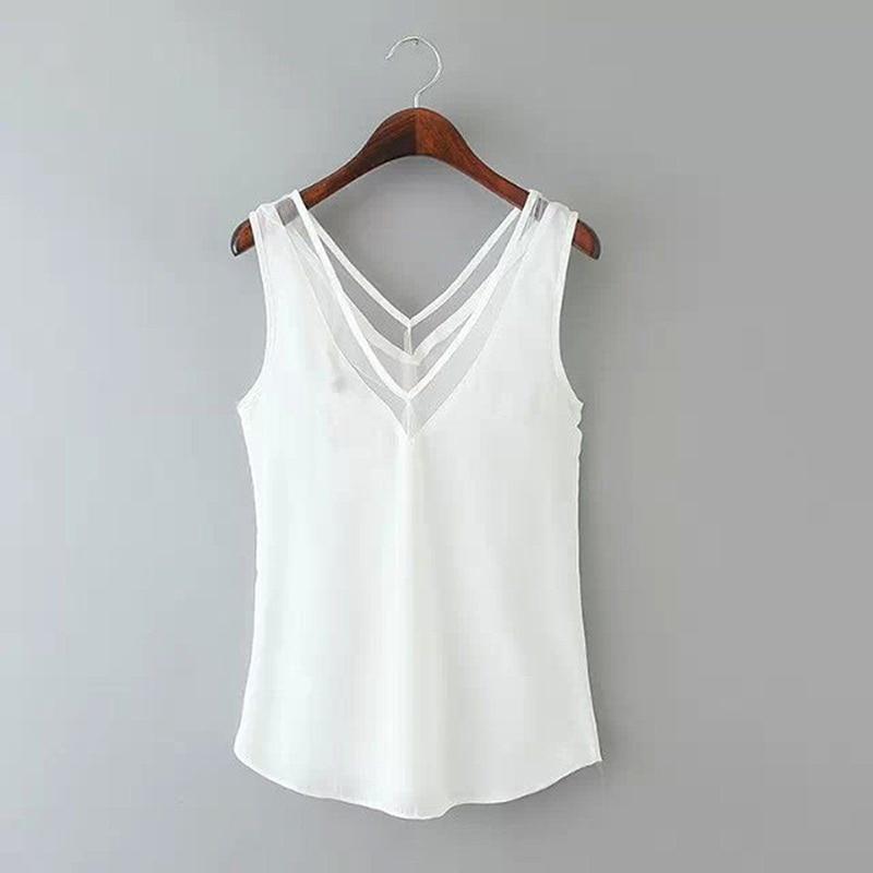 Fashion Solid Color Chiffon Blouse Women Sleeveless V neck Casual Women Tops Sweet Women Clothing OL Shirt Blusa Female 6