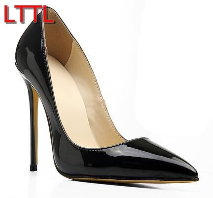 2017 shoe Point Toe Pumps Black White Nude High Heels Wedding Shoes Women Thin Heel Sexy Lady Dress Shoes Leather Pump