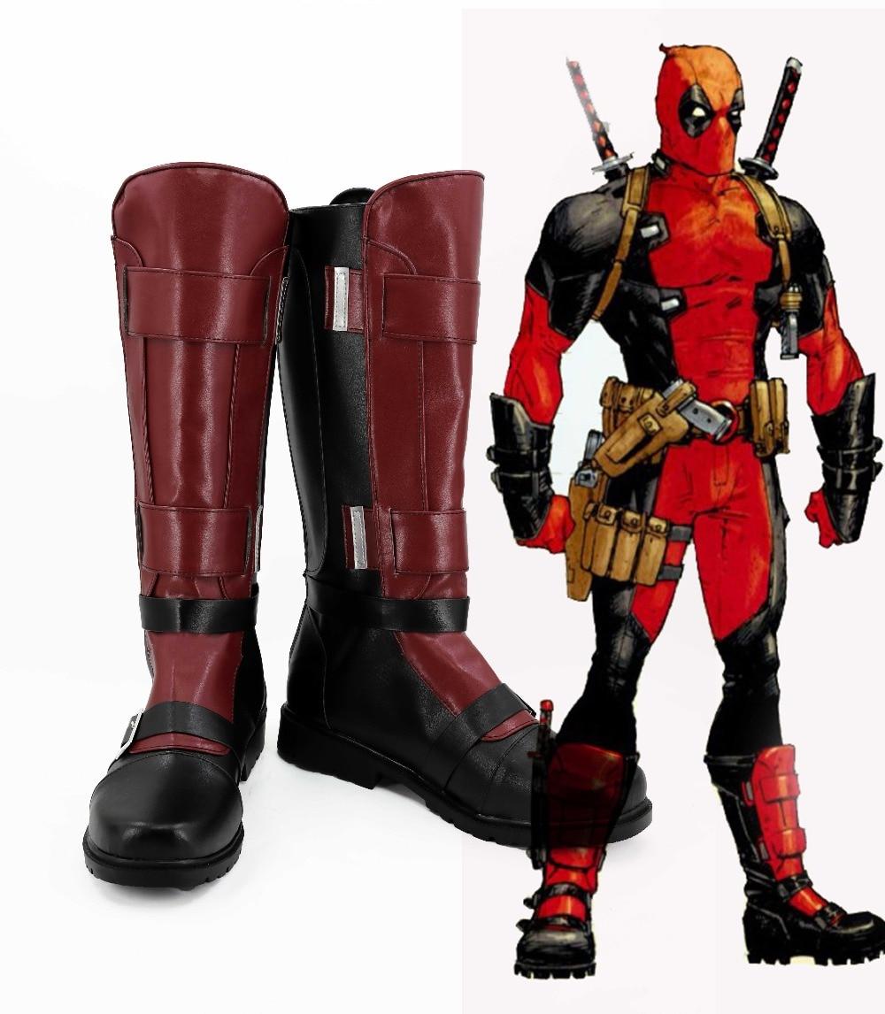 New Deadpool Cosplay Boots Wade Wilson Anime Shoes Custom Made стоимость