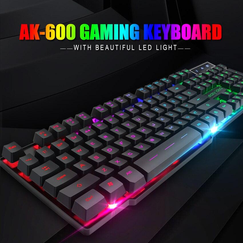 Juegos de Teclado Gamer mecánica sensación de teclado de juego teclado RGB con retroiluminación ergonómico clave de placa 104 teclas para el ordenador portátil