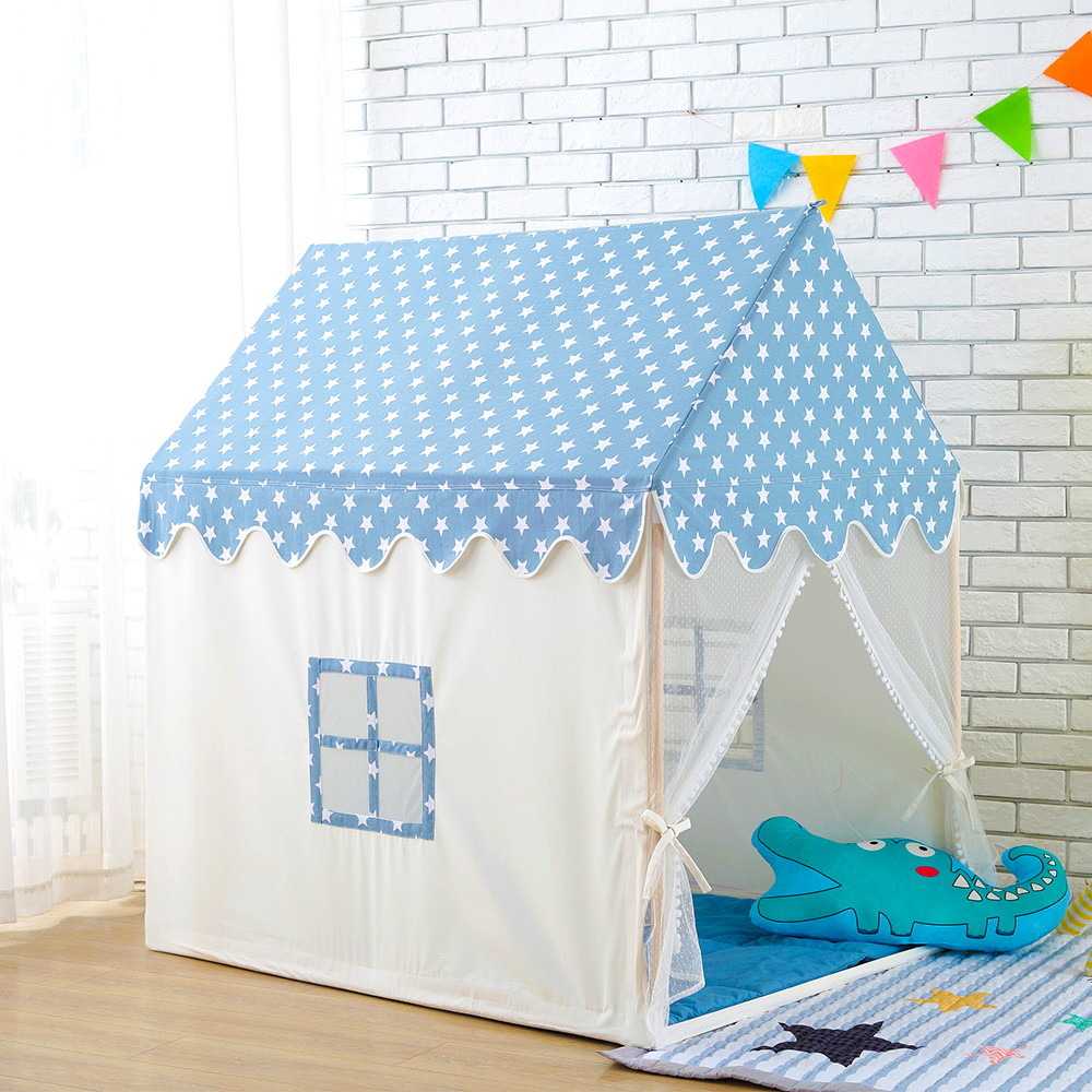 Childern Play House Tent 100% Natural Cotton Canvas Large Castle Portable Indoor and Outdoor Fun Plays For Kids With Mat Blue цена в Москве и Питере