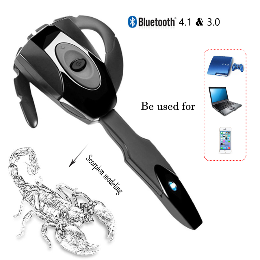 Wireless Bluetooth 4.1 Earphone Headset Rechargeable Handsfree Headphone Long Standby Bluetooth Earphone for PS3 PC Mobilephone