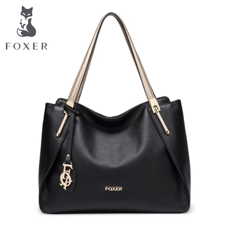 FOXER Brand Women soft genuine leather Shoulder bags & handbags women's shoulder bag fashion tote ladies hand bag