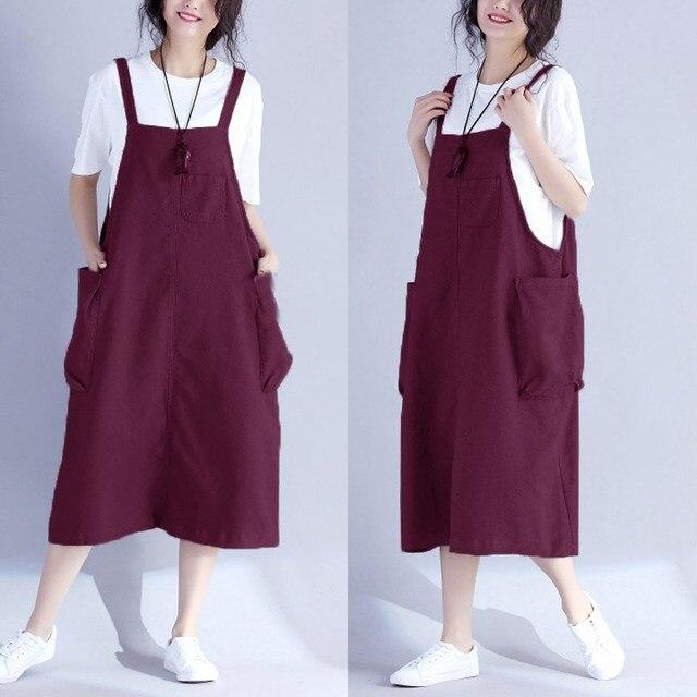 dbfe06c3b8 ZANZEA Women Summer Vintage Vestido Retro Pockets Bib Overalls Sleeveless  Dungarees Dress Strappy Loose Sundress Plus Size