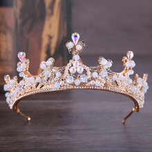 Luxury Rose Gold Pearl Bridal Crowns Handmade Tiara Bride Headband Crystal Wedding Diadem Queen Crown Wedding Hair Accessories