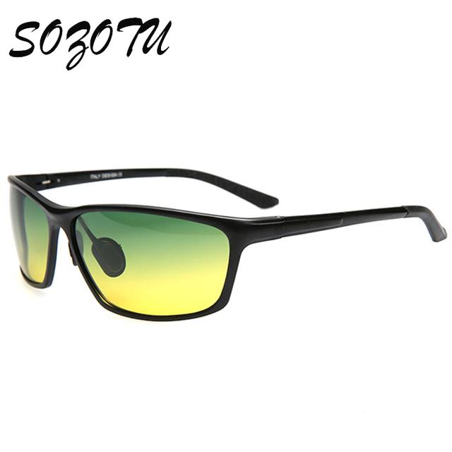 Visión día Y Noche gafas de Sol Polarizadas de Los Hombres Gafas de Sol Del Conductor Diseñador de la Marca Para Hombre de Conducción de AL-MG Gafas Oculos YQ140