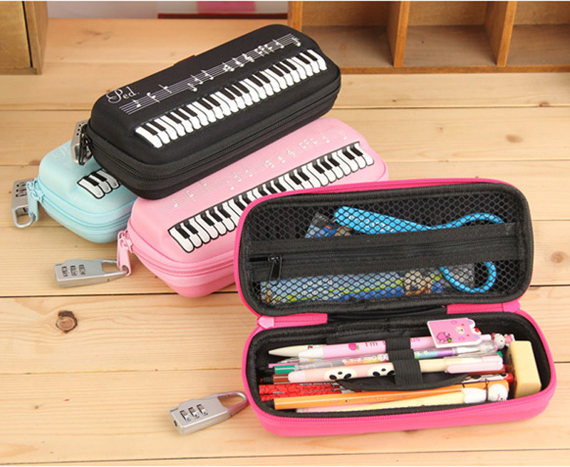 Hot lovely Musical Note Print Cosmetic Cases With Lock Pencil Bag for Chidren School pencil Case Piano Keyboard Pen Box Holder big capacity high quality canvas shark double layers pen pencil holder makeup case bag for school student with combination coded lock