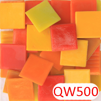 200g/68pcs 20X20mm 3/4 Inch Red Yellow Loose Mosaic