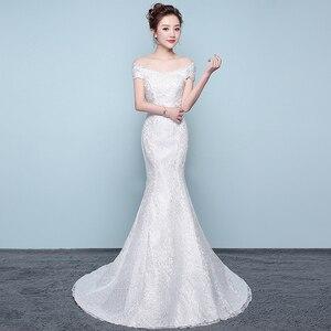 Image 3 - משלוח חינם חדש מכירה לוהטת אלגנטית יפה תחרה פרחי בת ים שמלות כלה Vestidos דה noiva robe de mariage כלה שמלה