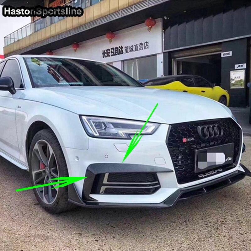Pour Audi S4 Sline B9 modifié en Fiber de carbone avant tablier séparateur avant phare antibrouillard aileron Auto accessoires 2017 2018 2019