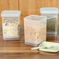 3 шт./лот пластиковые хранения продуктов запечатаны четкими зерен резервуар кухня сортировки ящик для хранения пищи контейнер случайно ложка