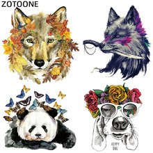 ZOTOONE Cute Animal Iron On Transfers for Clothing Wolf Panda Dog Patch Sticker DIY Kids Thermal Heat Transfer T-shirt Printed G