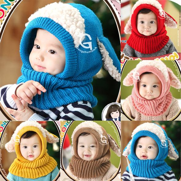 Handmade Wool Knit Hand Hook Baby Girl Winter Warm Fox Ear Shawl Cap Children Hat
